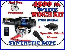 4500 Mad Dog Synthetic Winch/Mount Kit- 2018-21 John Deere Gator 835M 835R