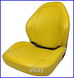 John Deere High Back Gator Lawn Mower Skid Steer Sewn Vinyl Seat Yellow